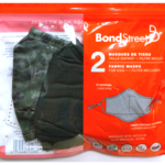BOND STREET KIDS WASHABLE FACE MASKS 2PK WITH 1FILTER (TAC5114 BSB-BLK/CAMO)