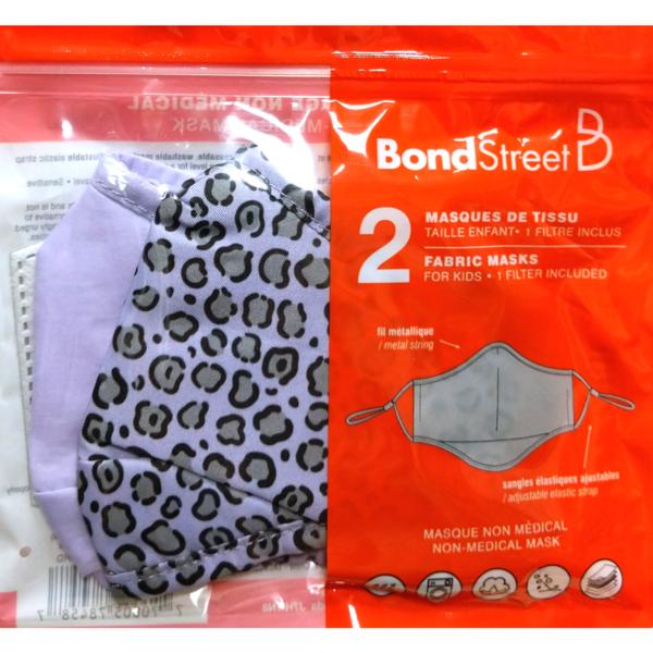 BOND STREET KIDS WASHABLE FACE MASKS 2PK WITH 1FILTER (TAC5114 BSG-MAUVE/LEOPARD)