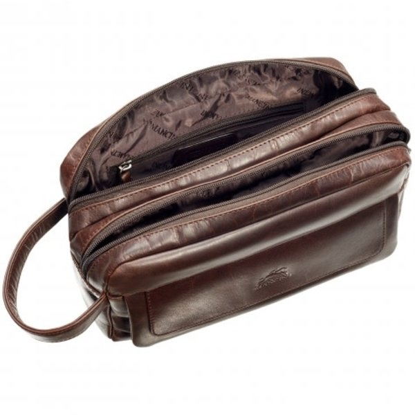 MANCINI BUFFALO LEATHER DOUBLE COMPARTMENT TOILETRY KIT (99-54201