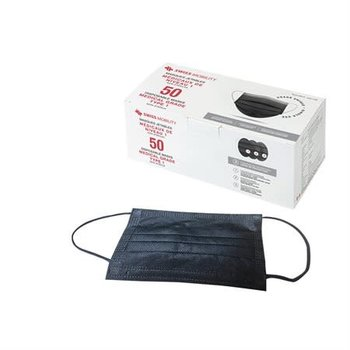 SWISS MOBILITY TYPE 1 DISPOSABLE 3-LAYER FACE MASK BOX OF 50 BLACK (TAC1162SM)