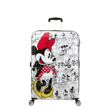 AMERICAN TOURISTER DISNEY WAVEBREAKER MINNIE COMICS WHITE LARGE SPINNER (85673-7484)