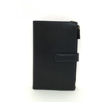 DEREK ALEXANDER BOOKSTYLE TRAVEL ORGANIZER/WALLET W/ TAB CLOSURE PR1586 BLACK/MULTI