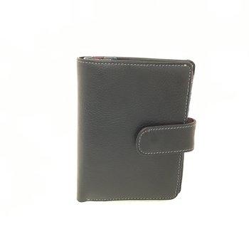 DEREK ALEXANDER MEDIUM LADIES MULTI CARD CLUTCH TAB CLOSE REAR ZIP PR1555 BLACK/MULBERRY