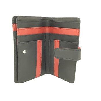 DEREK ALEXANDER LADIES 3 PART SLIM SHOW CARD TAB CLOSE ZIP CHANGE TU745-N BLACK/RED
