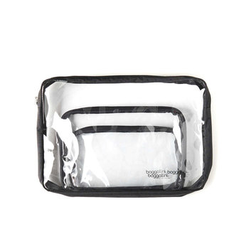 BAGGALLINI BAGGALLINI CLEAR TRAVEL POUCHES, SET OF 3, BLACK (CTP485)