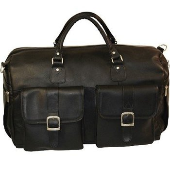 MOSAIC DAYTREKR VAQUETTA LEATHER DUFFEL, BLACK (771-1410)