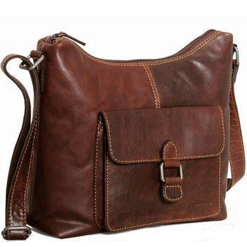 Jack Georges VOYAGER FLAP POCKET HOBO BAG, BROWN (7614)