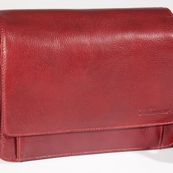 DEREK ALEXANDER EW HALF FLAP LEATHER MULTI COMP ORGANIZER, RED (BR-8006)
