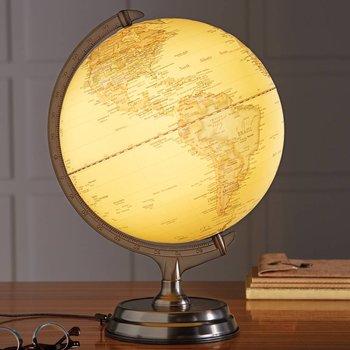 MOSAIC LIGHT UP GLOBE W/ PEWTER BASE (910-1592)