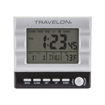 TRAVELON TRAVEL ALARM CLOCK, SILVER (12654)