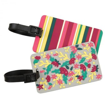 TRAVELON SET OF 2 LUGGAGE TAGS, FLORAL/STRIPE (12821)