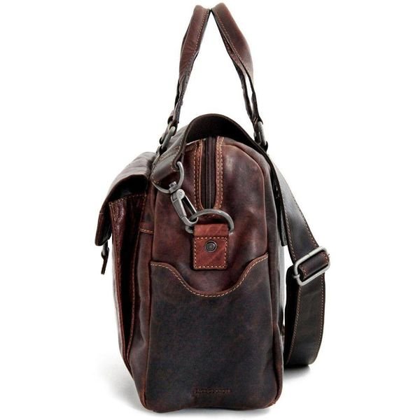 Jack Georges VOYAGER ZIPPERED BRIEFCASE WITH FRONT FLAP POCKET, BROWN (7316)