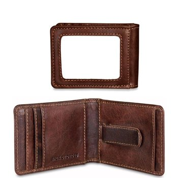 Jack Georges VOYAGER BI-FOLD WALLET W/MONEY CLIP, BROWN (7748)