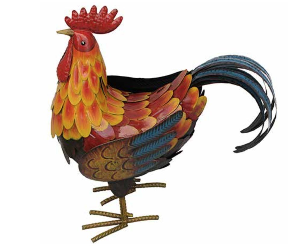 Large Colourful Metal Rooster