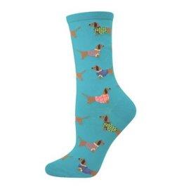 Socks Ladies Sausage Dog Blue