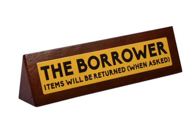 Desk Sign Borrower