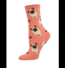 Socks Ladies Peach Pugs