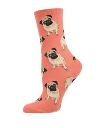 Socks Ladies Peach Pugs