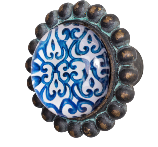 Doorknob Indigo Pewter Glass