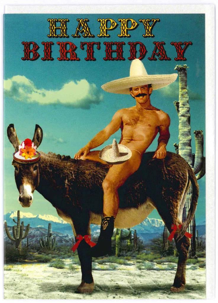 Открытка с днем рождения для ковбоя, собаки