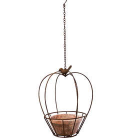 Metal Hanging Planter With Teracotta Pot