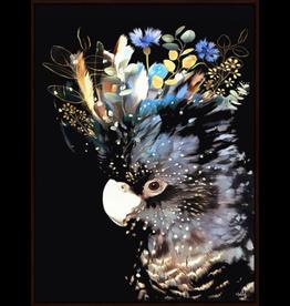 Floating Frame Floral Cockatoo Black Background Large