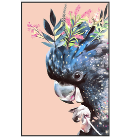 Framed Canvas - Floral Peachy Cockatoo (Small)