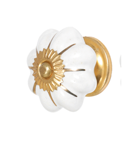 Doorknob - White & Gold Ceramic