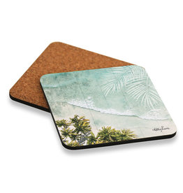Coaster set with Beach Oasis Design