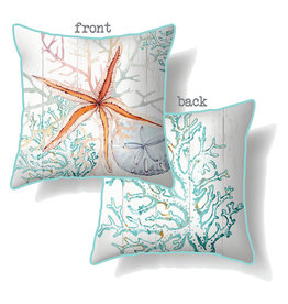 Cushion with Starfish and Coral Design