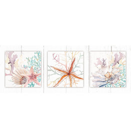 Canvas 3D Triptych Painting with Starfish and Coral Theme