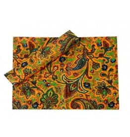 Placemats set Paisley Orange