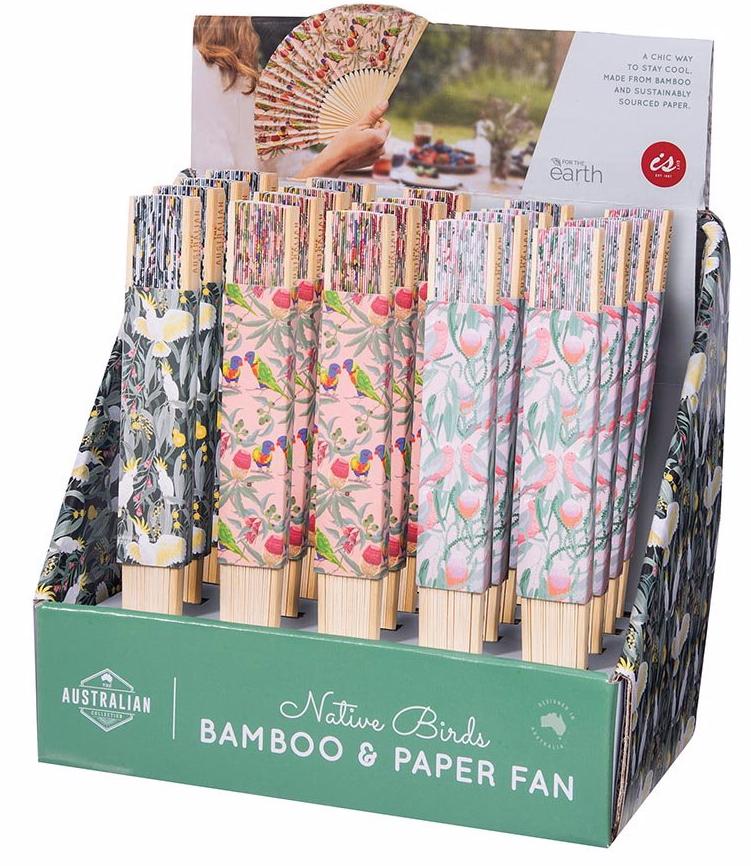 Australian Birds Bamboo & Paper Fan