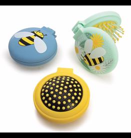 Compact Hairbrush & Mirror - Bees