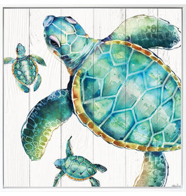 Large Shadow Framed Painting with Turtles