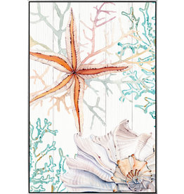 Medium Shadow Framed Painting of Starfish and Coral