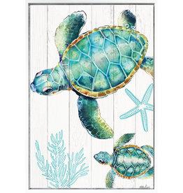 Medium Shadow Framed Painting of Turtles