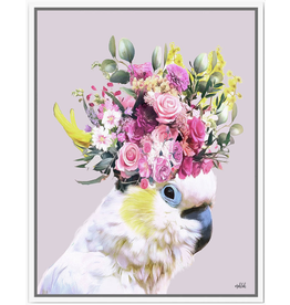 Framed Canvas - Floral White Cockatoo  (Small)