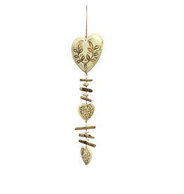 Hanging Garland of 3 hearts & driftwood