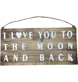 Wooden Sign -  Moon and Back