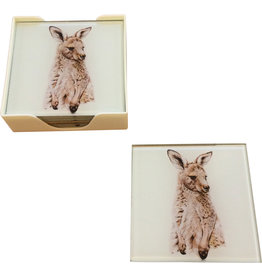 Coaster set of Glass Kangaroo
