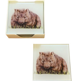 Coaster set of Glass Wombat