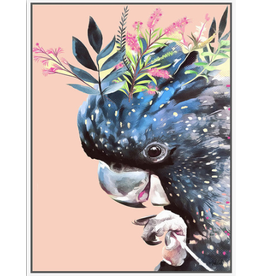 Floating Frame Floral Peachy Cockatoo (Large)