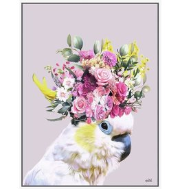 Framed Canvas - Floral White Cockatoo Pastel Background (Large)