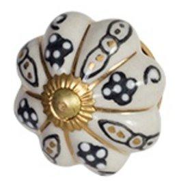 Doorknob - Argyle/Gold Ceramic