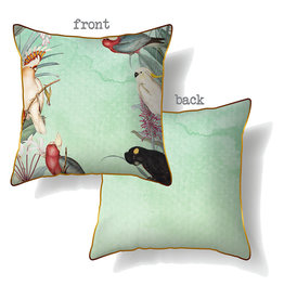 Cushion with Green Parrot Design