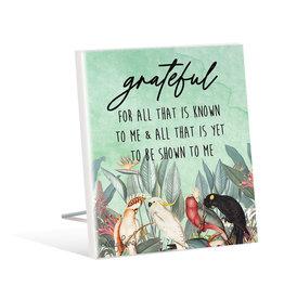 Sentiment Plaque 12x15 Parrots Grateful