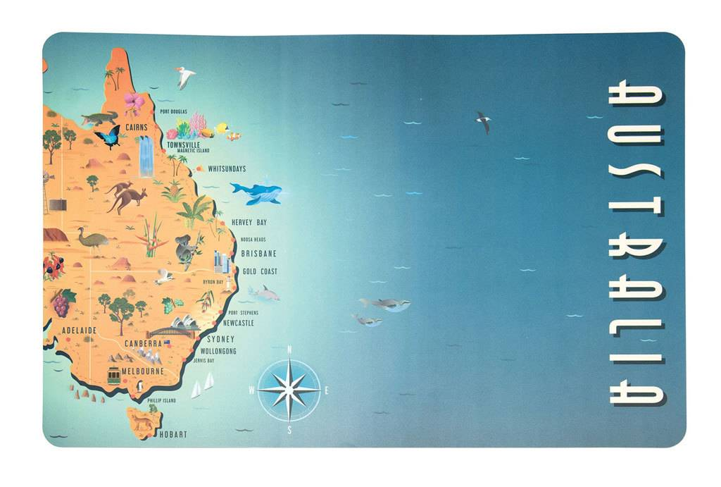 Map Of Australia Townsville.Australian Collection Placemat Map