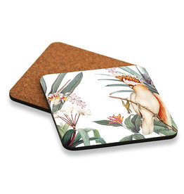 Coaster set with Parrot and Floral Design