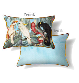 Cushion with Blue Parrot Design